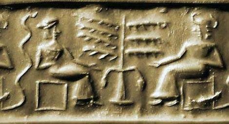 Impresión de sello cilíndrico - El Arbol, la serpiente y 2 personas (s. XXII BC)