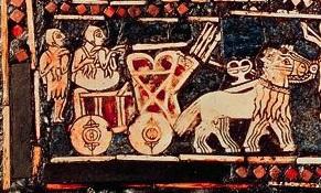 Estandarte de Ur - panel de la guerra - sección carro a caballo (circa 2600 AC)