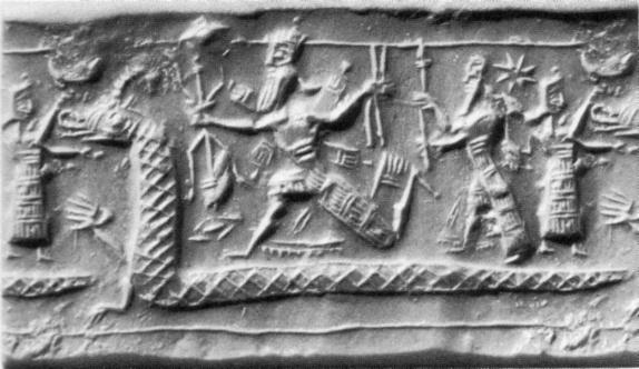 Marduk y Tiamat (en forma de un gigantesco dragón)