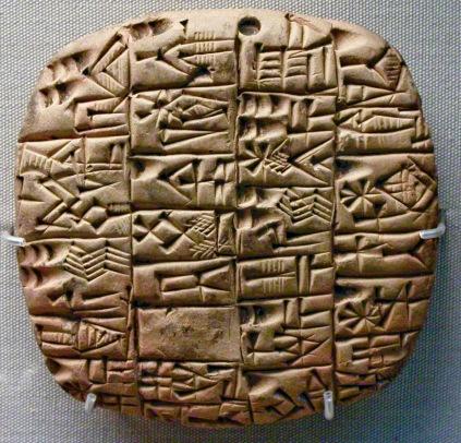 Tablilla con texto cuneiforme