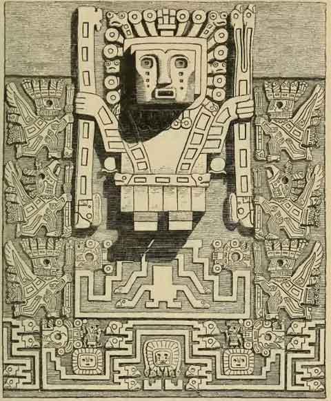 Tiwanaku - Puerta del Sol detalle Dios de los Báculos