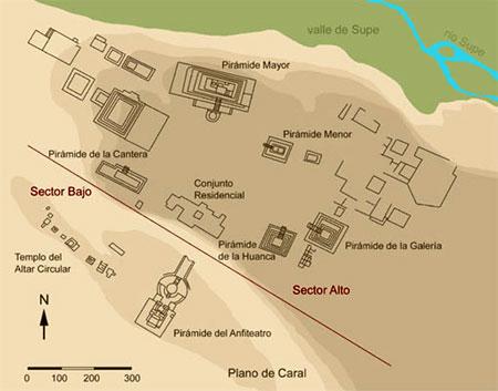 Mapa de Caral