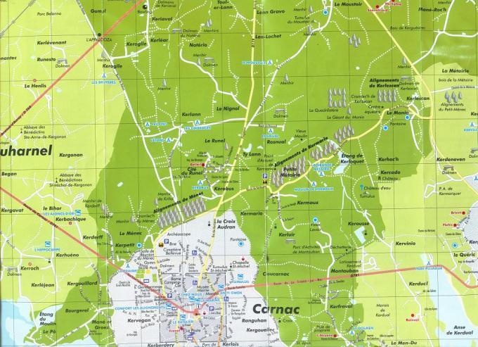 carnac map - LOS ALINEAMIENTOS DE CARNAC