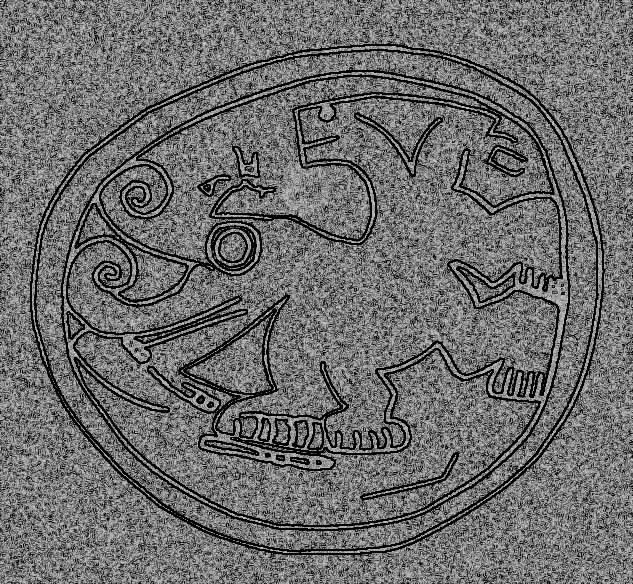 detalle aproximado del petroglifo en la esfera pertoglifo en  esferacr - ESFERAS DE PIEDRA DE COSTA RICA Y RESTO DEL MUNDO
