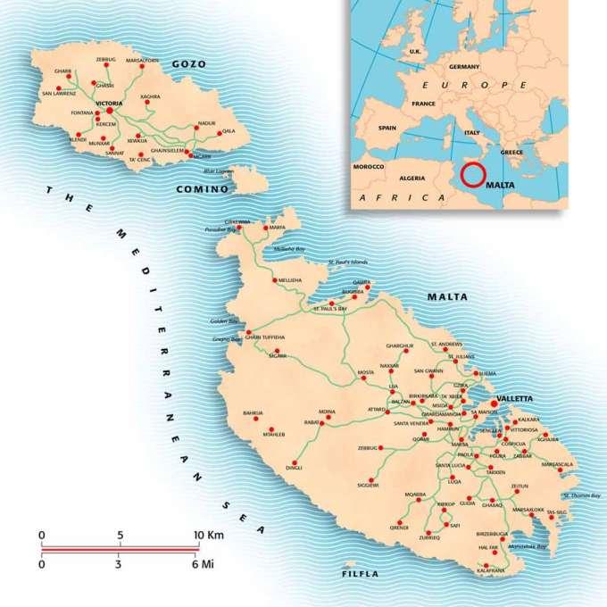 mapa malta - LOS TEMPLOS MEGALÍTICOS EN LAS ISLAS DEL MEDITERRÁNEO