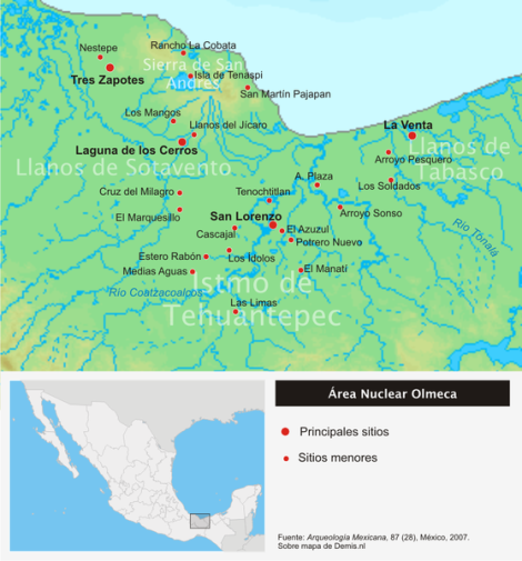 Yacimientos arqueológicos en el área nuclear olmeca