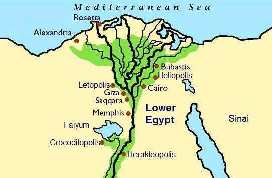 Mapa del Bajo Egipto