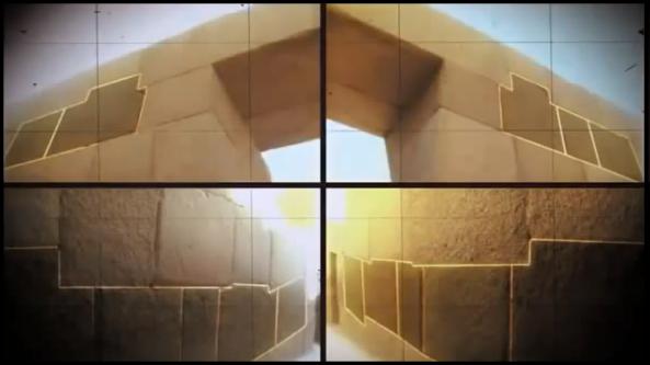Líneas opuestas simétricas de rocas irregulares