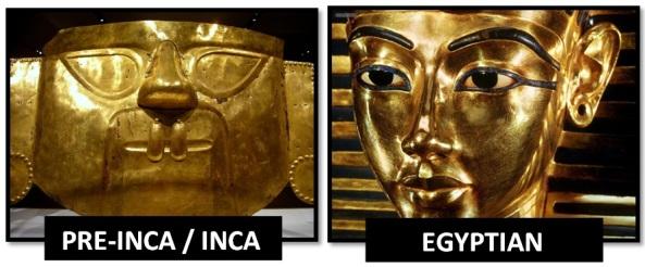 egyptian inca gold masks - Las Civilizaciones Paralelas
