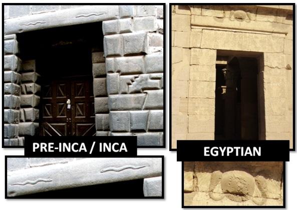 egyptian inca trapezoid door snakes - Las Civilizaciones Paralelas
