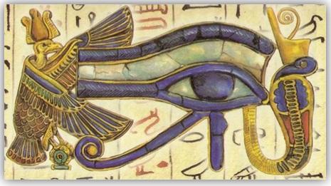 Símbolo del Ojo de Horus con la cobra Uadyet y el buitre Nejbet