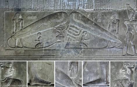 Templo de Dendera con sugestivos relieves en forma de bombilla