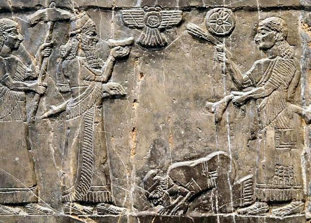 Obelisco Negro - Jehú (rey de Israel 842-814) postrado ante el rey asirio Salmanasar III