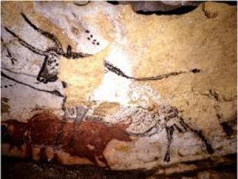 Pintura rupestre en la cueva de Lascaux, Francia