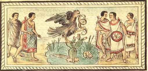 Aguila con la serpiente en las garras