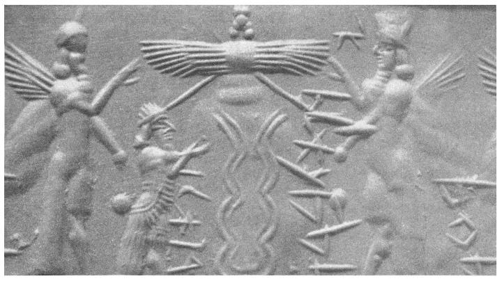 Sello de rodillo de los sumerios con dioses y una hélice