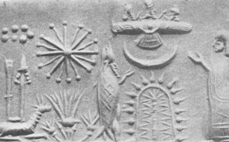 Oannes junto al árbol de la vida, arriba, el dios Ashur junto con otras deidades