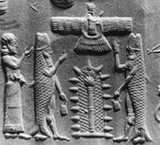 Oannes junto al árbol de la vida, arriba, el dios Ashur
