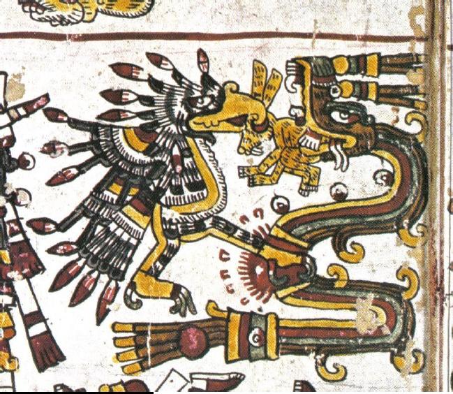 Códice Borgia p. 52. Extremo superior derecho de la escena contenida en la franja baja.