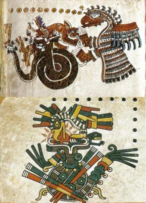 Códice Féjervary-Mayer , p. 42. Escena superior izquierda