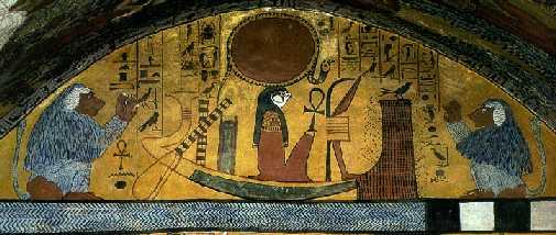 Dios Ra sobre su barca, surcando el cielo. Tumba de Senedyem. Deir el-Medina. Tebas Oeste.