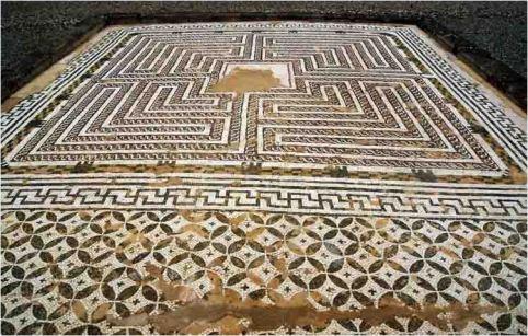 Mosaico del Laberinto, Casa de Neptuno, Ruinas Itálicas Santiponce, Sevilla, España