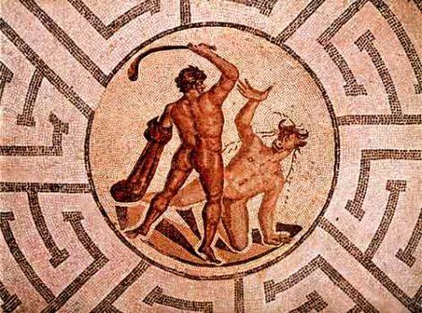 Mosaico romano con Teseo y el Minotauro