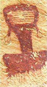 This figure has unusual horizontal lines on its face. Interesting is that the artist only drew the shoulders and part of the chest, not finishing the rest of the torso. Based on the earrings or hair-bobs I would think this a Fremont figure, but if Barrier Canyon Style it is unique.