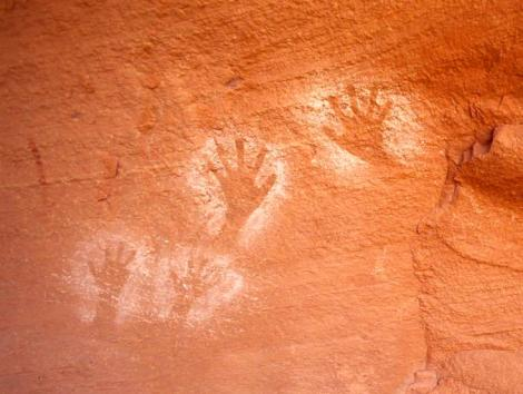 Anasazi hand print along the Colorado River near Moab, Utah.