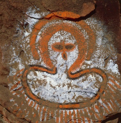 Australia, Kimberley, Isdell Gorge, Aboriginal rock paintings: Wandjina (cloud and rain spirit)