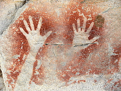 Aboriginal rock painting representing two hands, Carnarvon Gorge, Queensland, Australia.