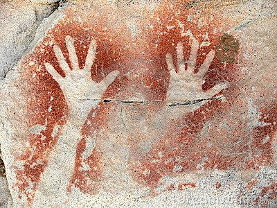 Aboriginal rock painting representing two hands, Carnarvon Gorge, Queensland, Australia.