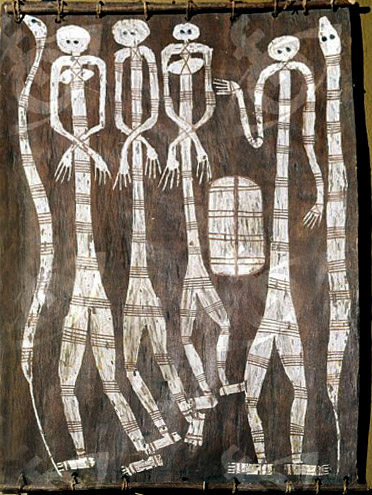 Bark painting depicting two pairs of male and female figures, possibly spirit beings, with two snakes