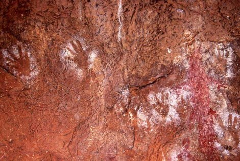 Handprints at Tunnel Creek, Western Australia.