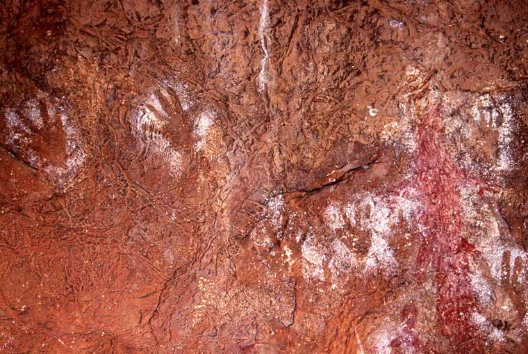 Handprints at Tunnel Creek, Western Australia.