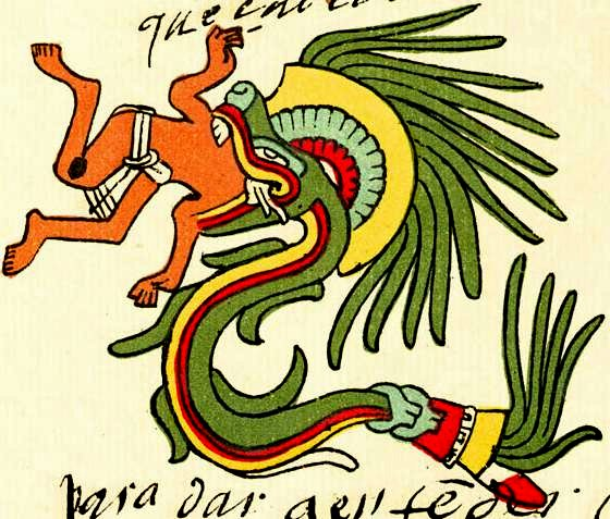 Quetzalcoatl depicted as a snake devouring a man, from the Codex Telleriano-Remensis (2)